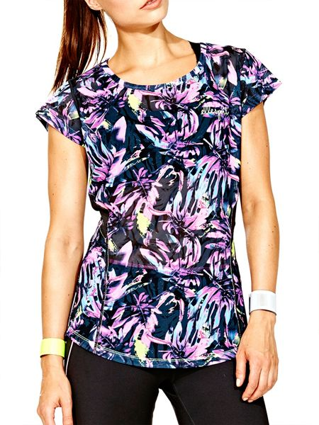 Elle Sport Printed Mesh Loose Fit Performance Tee