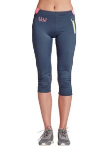 Elle Sport Duo Print Waistband Capri And Mesh Back