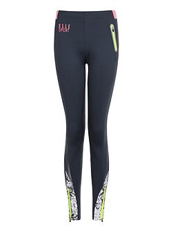 2 Tone Mesh Panel Sport Tight With Print