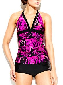 Elle Sport Floral AOP Ruched Tankini