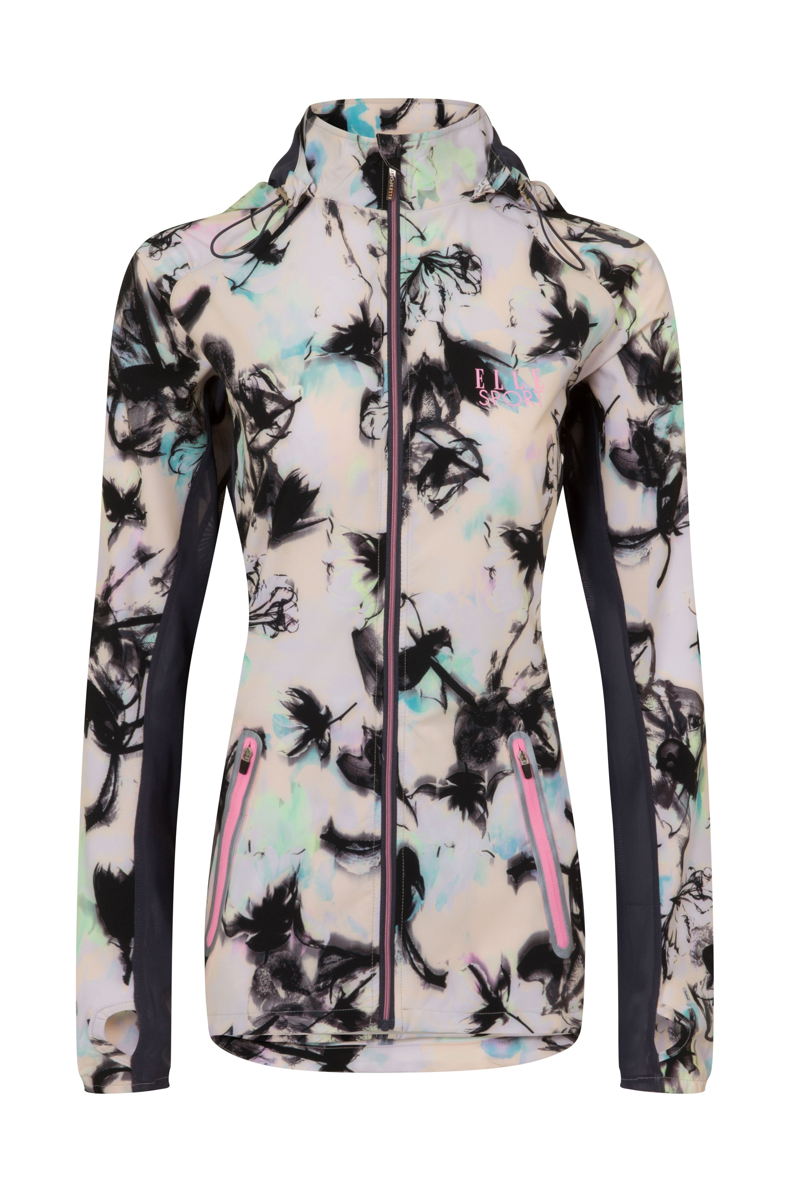 Elle Sport Printed Lightweight Jacket With Mesh Detail, Multi-Coloured