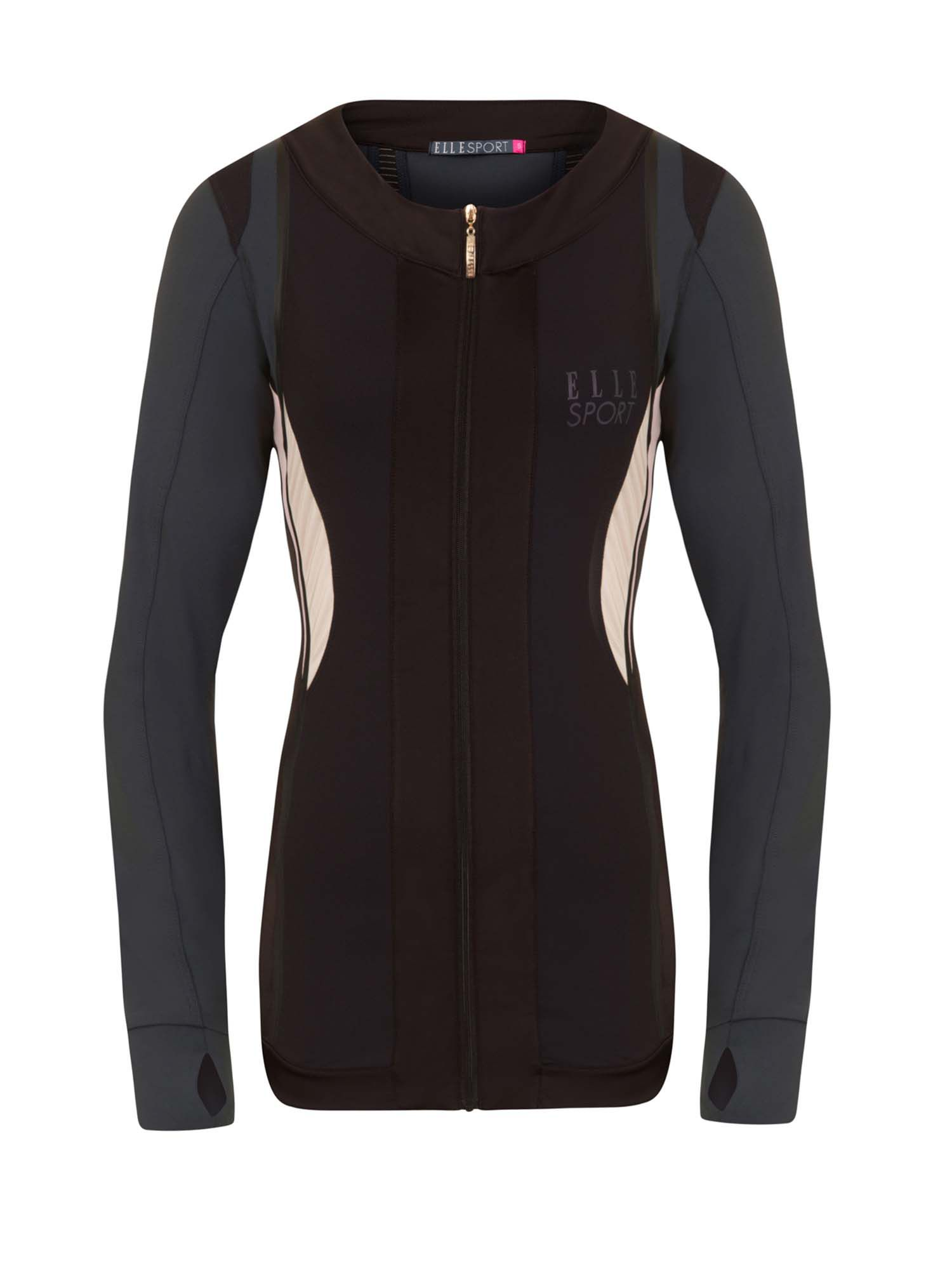 Elle Sport Contour Panelled Workout Jacket, Dary Grey Marl