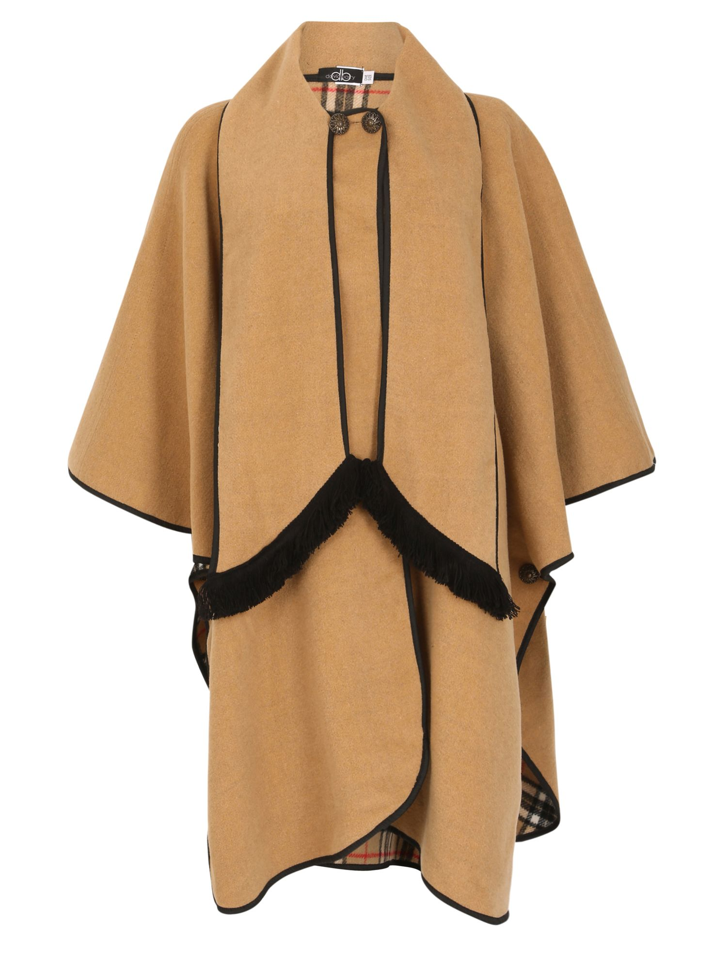 David Barry David Barry Wool Mix Cape Fully Reversible, Beige