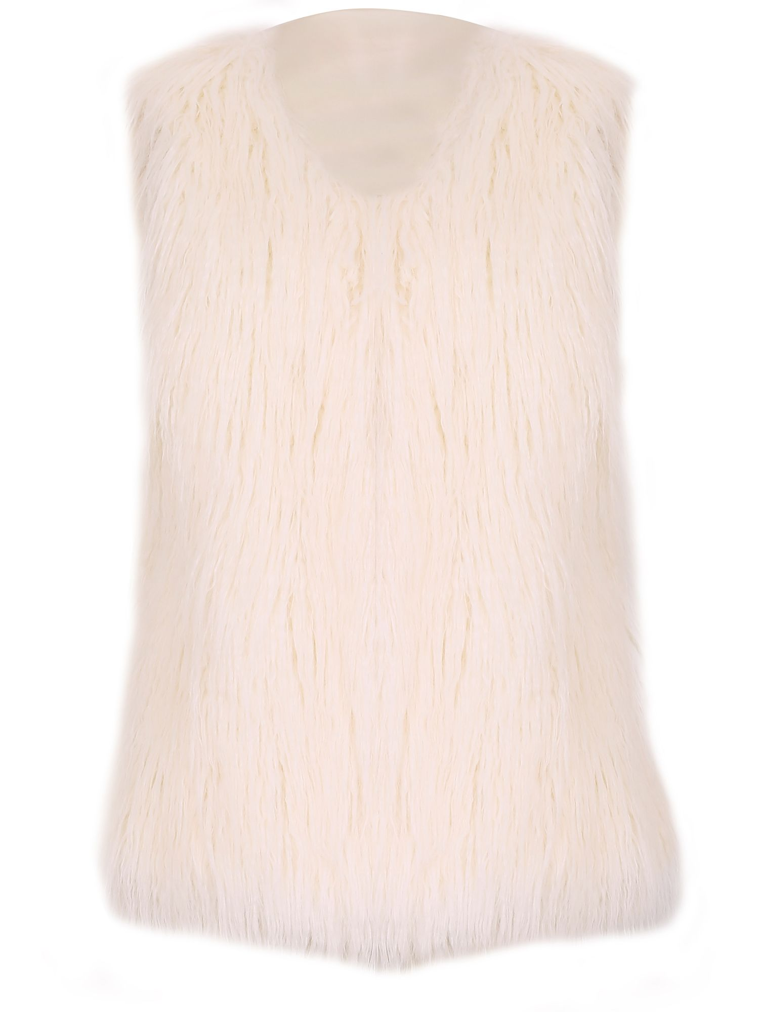 David Barry Faux Mongolian Fur Gilet, White