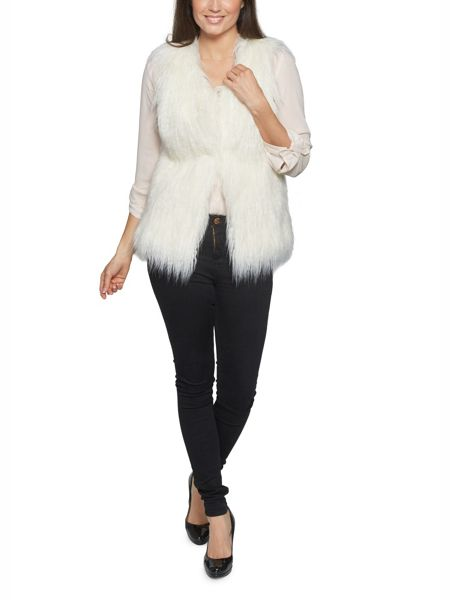David Barry Faux Mongolian Fur Gilet