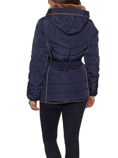 David Barry Faux Down Zipped Contour Piped Jacket