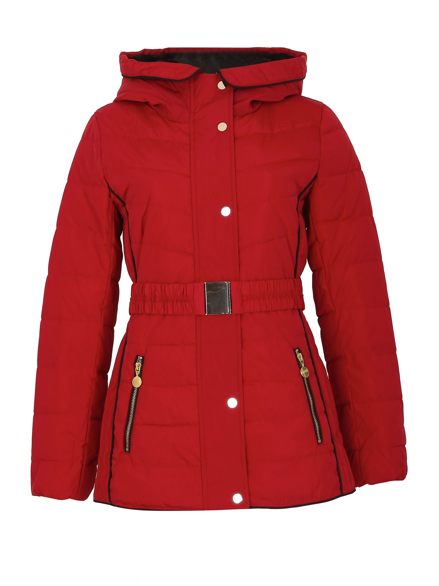 David Barry Faux Down Zipped Contour Piped Jacket, Red