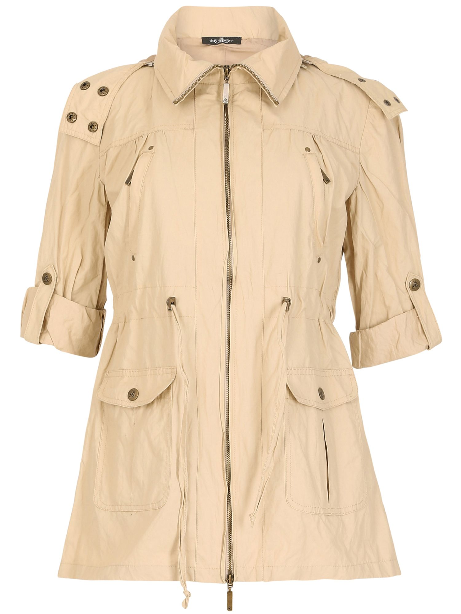 David Barry David Barry Light Weight Drawstring Waisted Jacket, Cream