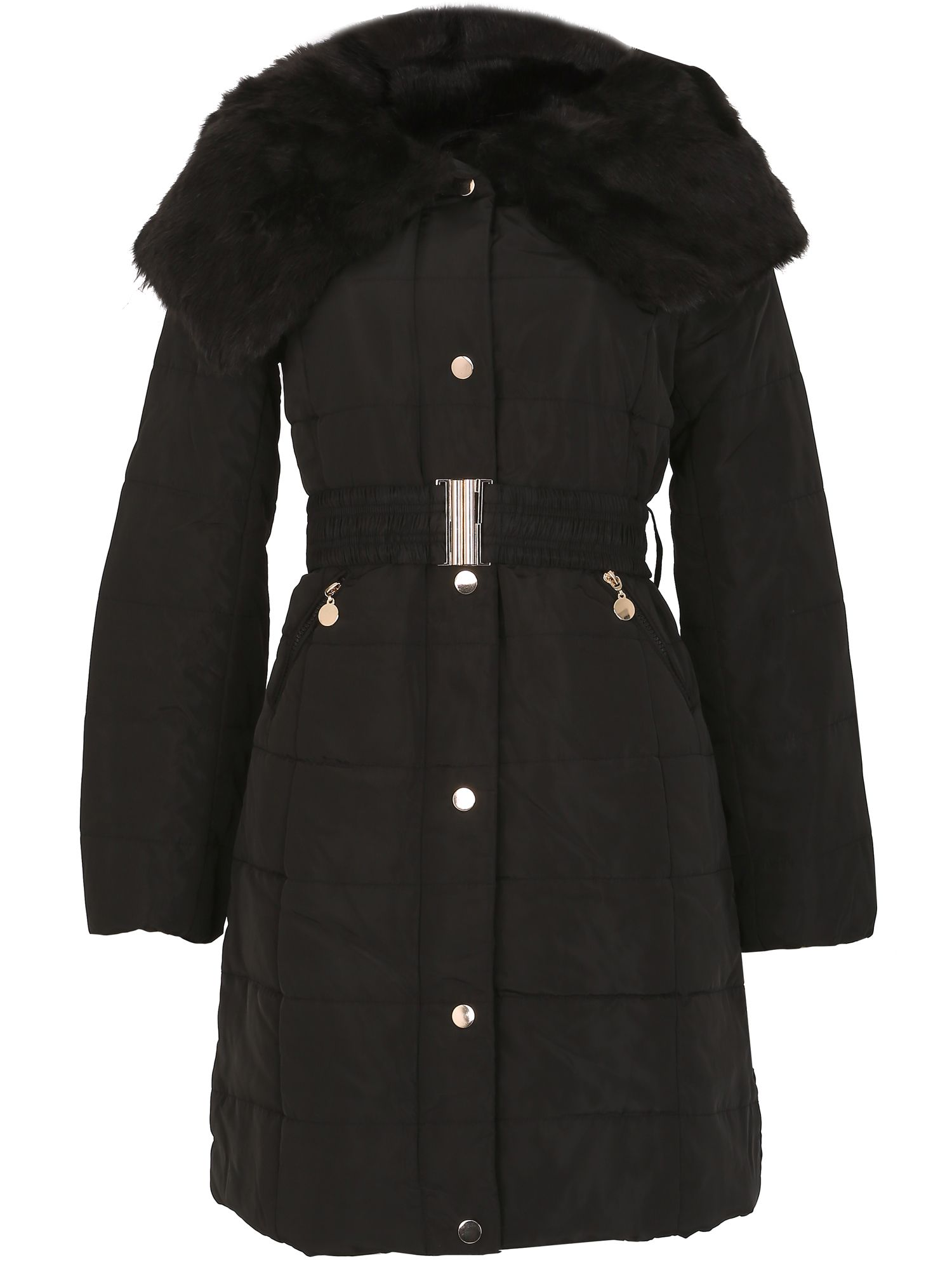 David Barry Shawl Faux Fur Collar Padded Coat, Black