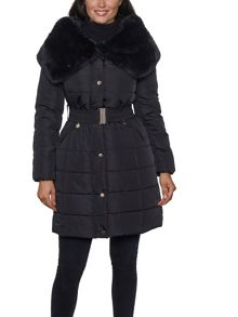 David Barry Shawl Faux Fur Collar Padded Coat