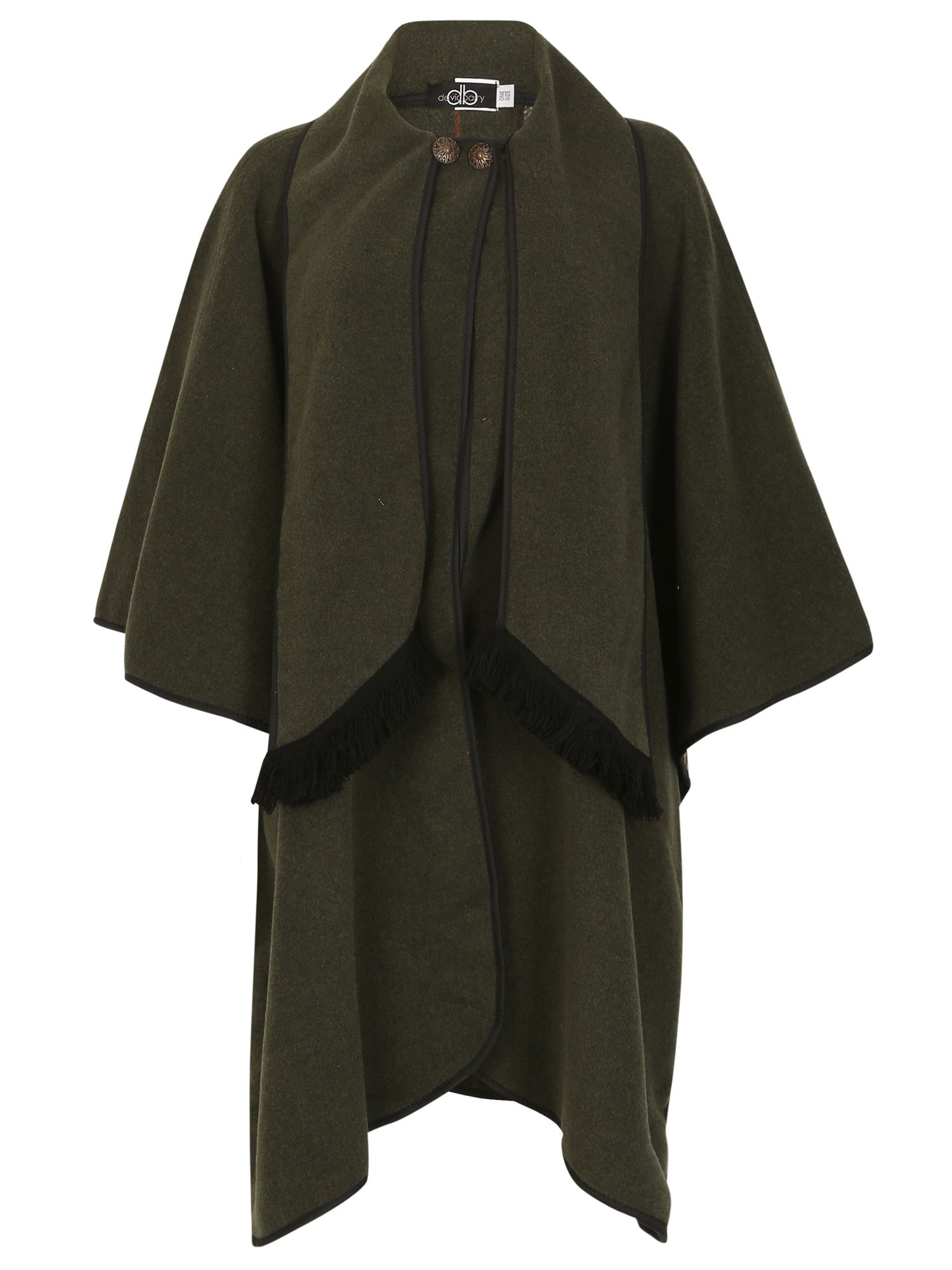 David Barry Wool Mix Cape Fully Reversible, Green