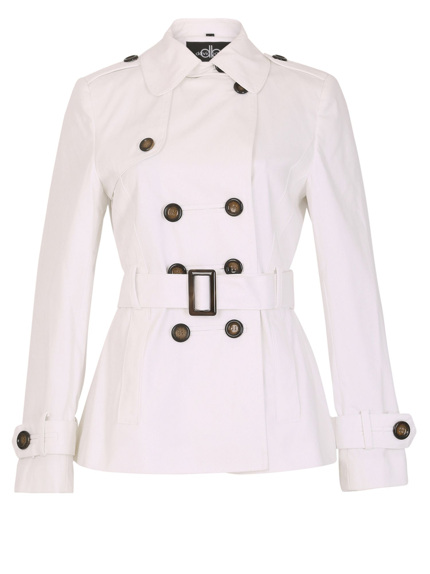 David Barry DB Belted Trench, White