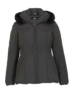 Ruched Collar Button Off Hood Jacket
