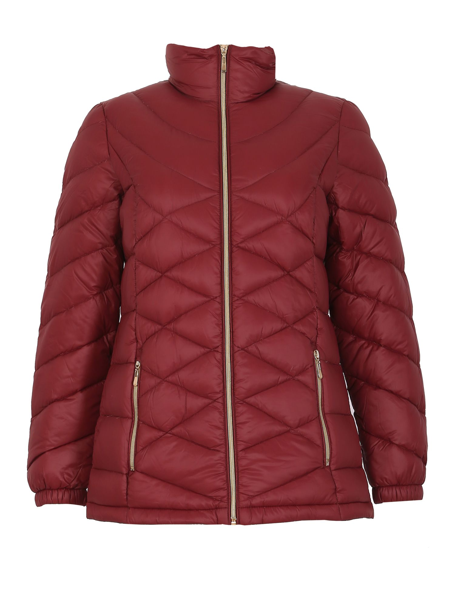 David Barry David Barry Lightweight Down & Feather Hooded Jacket, Red