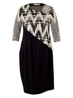 Jersey Dress with Paisley Jacquard Trim