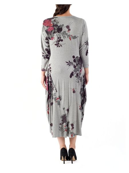 Chesca Floral Jersey Drape Dress