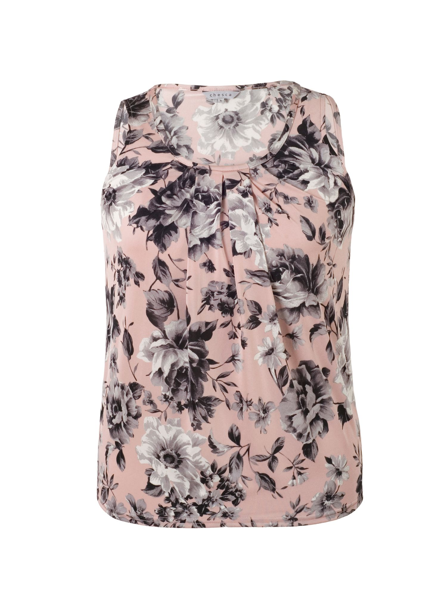 Chesca Rose Print Tuck Detail Jersey Top, Pink