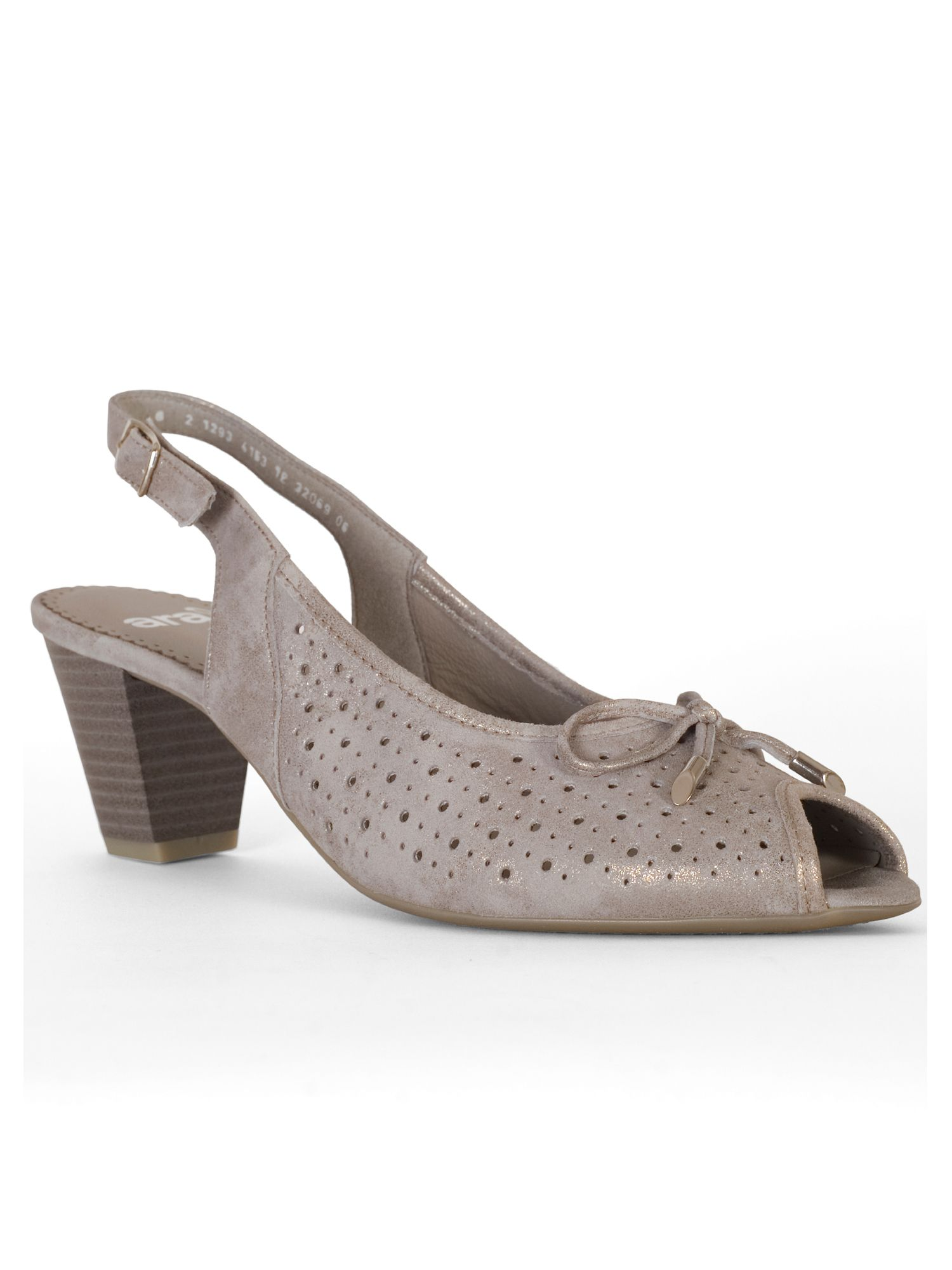 Chesca Perforated Peep Toe H Fit Nubuck Shoe, Grey