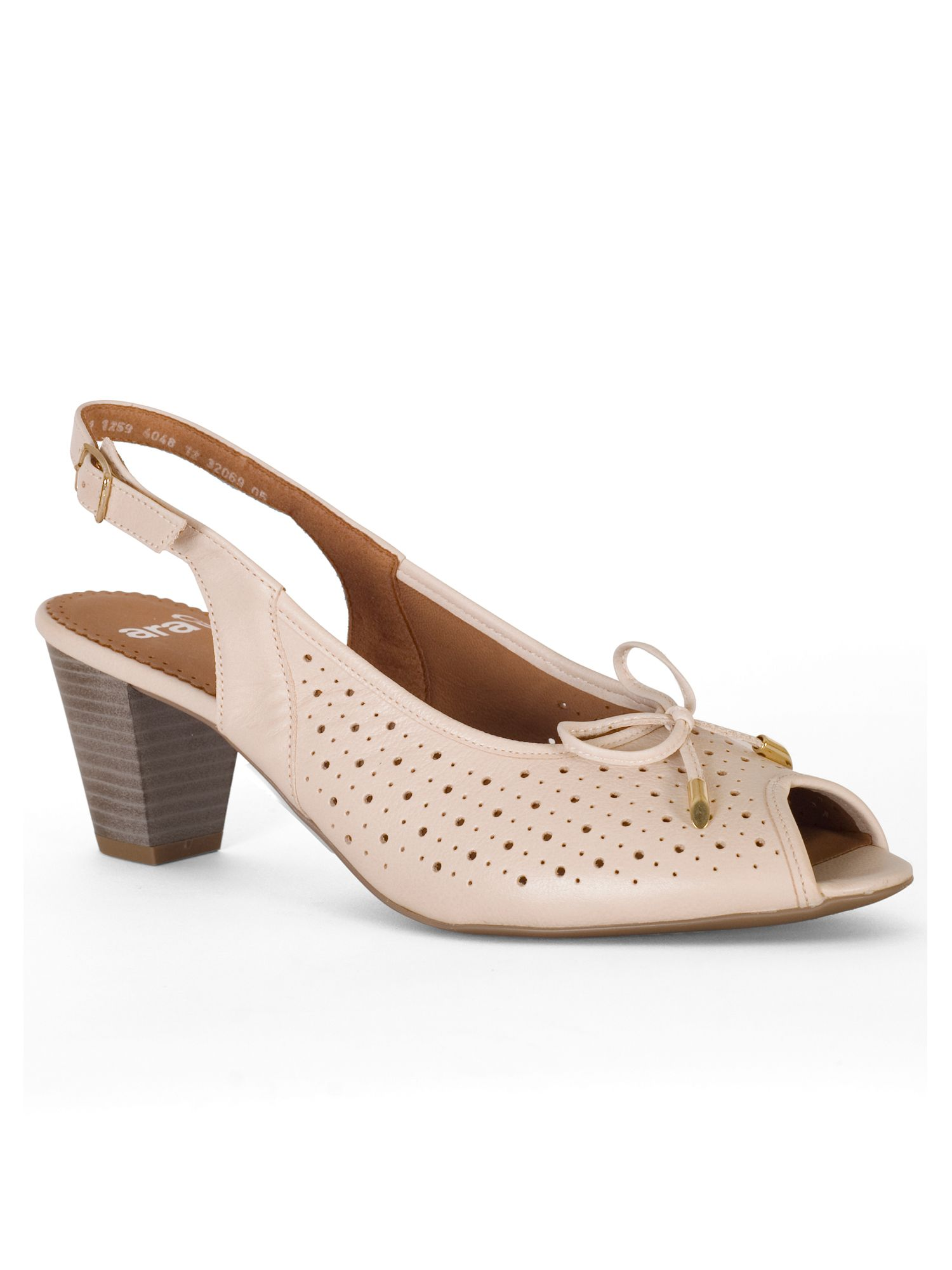 Chesca Perforated Peep Toe H Fit Nubuck Shoe, White
