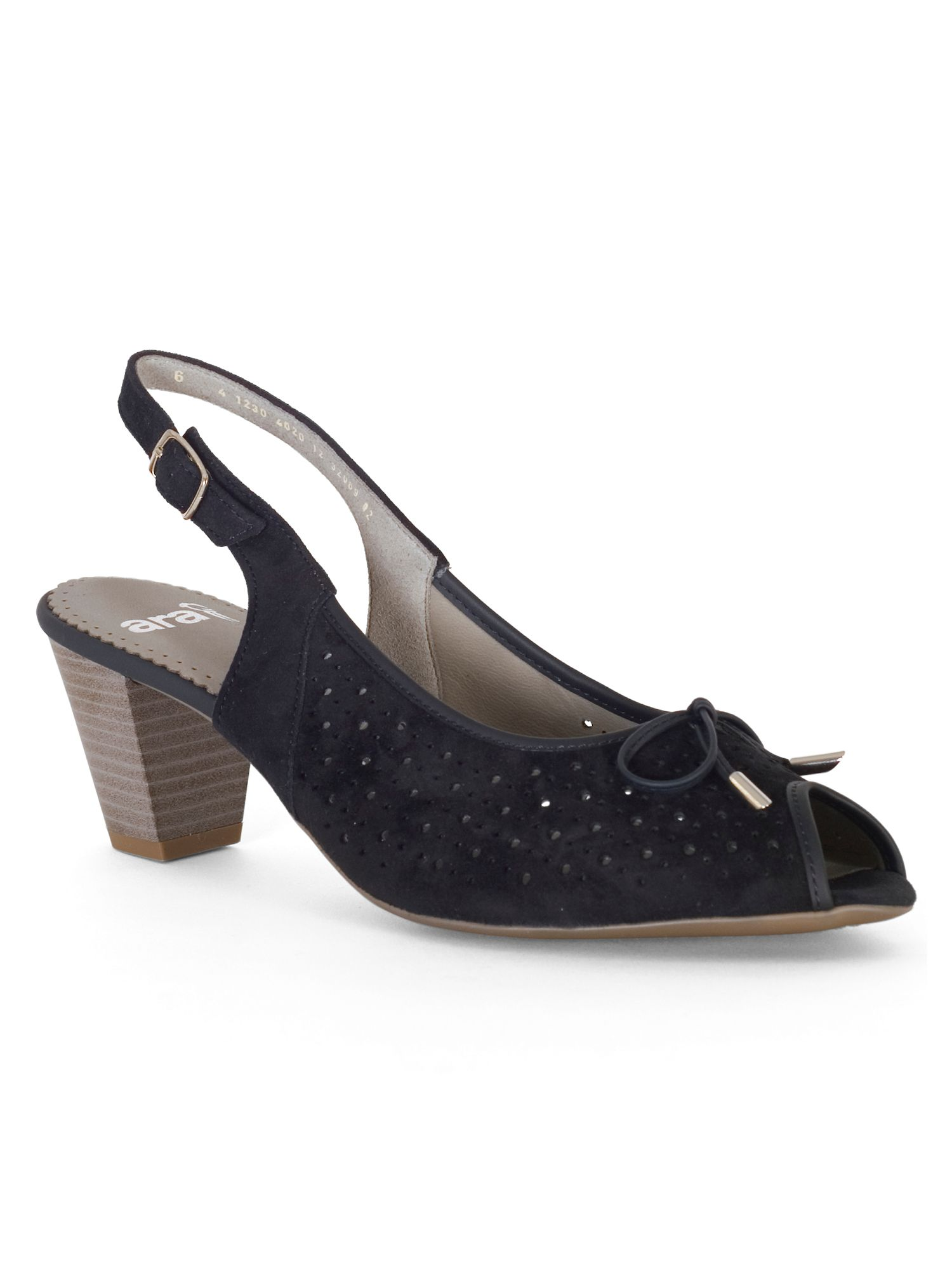 Chesca Perforated Peep Toe H Fit Nubuck Shoe, Blue