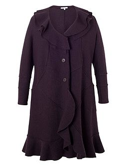 Wool Coat with Flounce Collar and Trim
