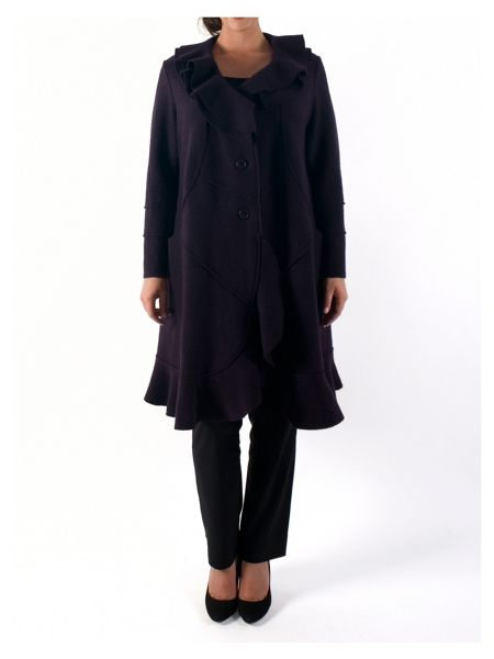 Chesca Wool Coat with Flounce Collar and Trim