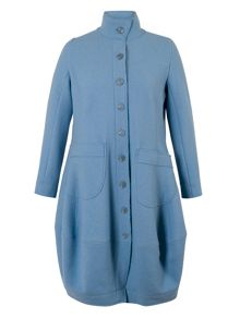 Barrel Hem Wool Coat with Tab Trim