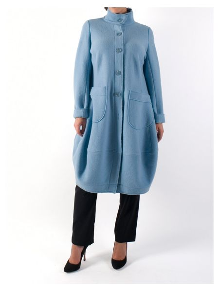 Chesca Barrel Hem Wool Coat with Tab Trim