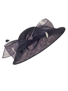 Chesca Large Bow Diamante and Pearl Trim Hat