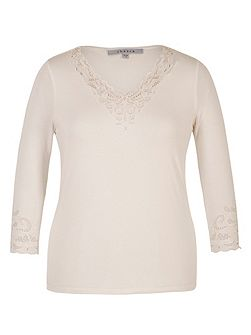 Embroidered Cutout V-Neck T-Shirt