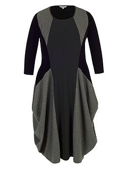 Mini Wavy Line Jacquard Jersey Dress