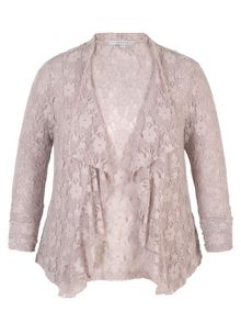 Chesca Stretch Lace Bead Trim Shrug