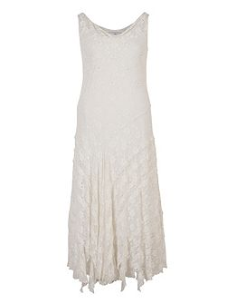 Stretch Lace Cinderella Bead Trim Dress