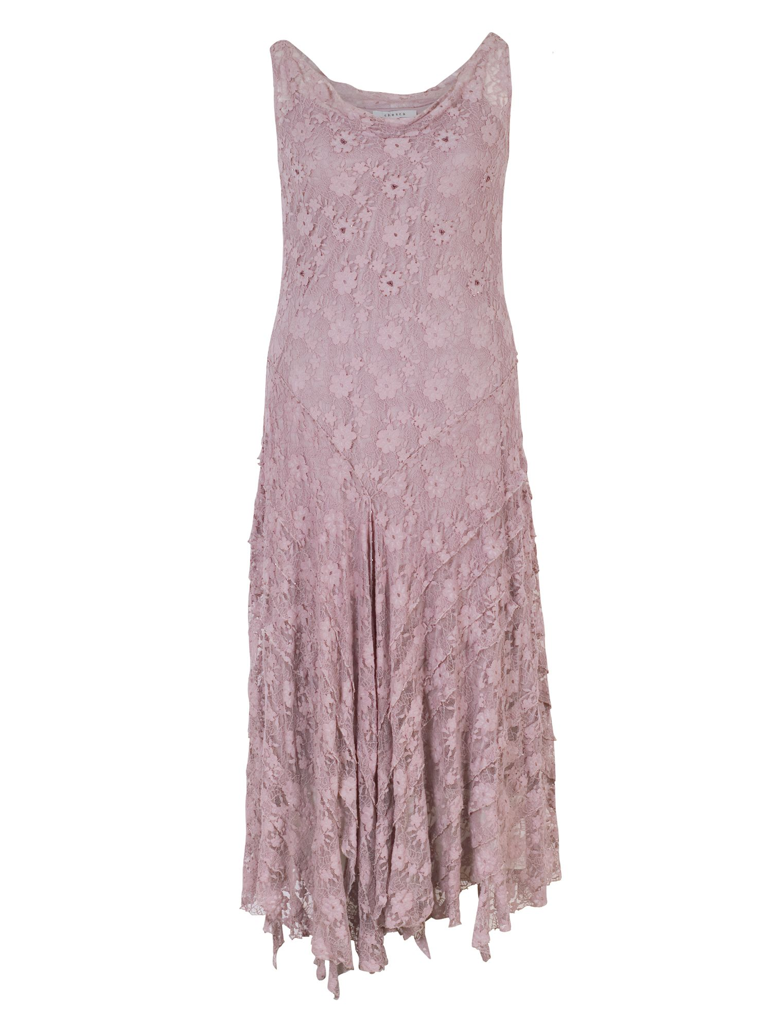 Chesca Stretch Lace Cinderella Bead Trim Dress, Purple