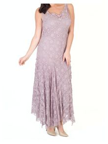 Chesca Stretch Lace Cinderella Bead Trim Dress