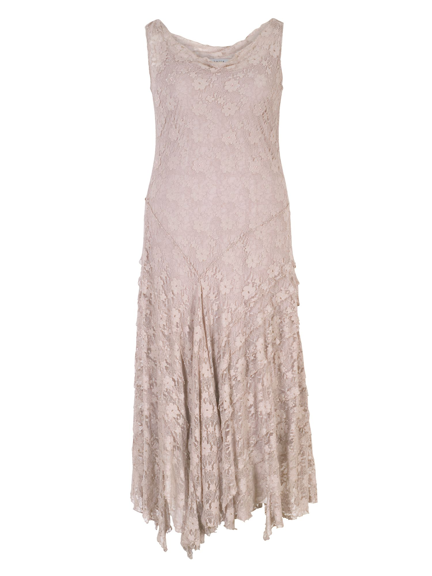 Chesca Stretch Lace Cinderella Bead Trim Dress, Mink