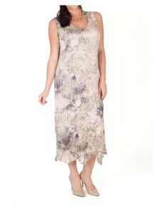 Chesca Crush Pleat Printed Dress with Lace Trim