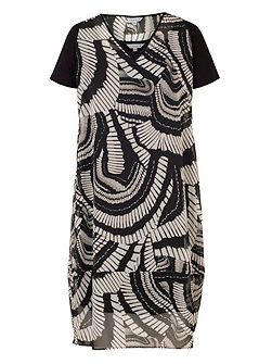 Short Sleeve Printed ChiffonDress