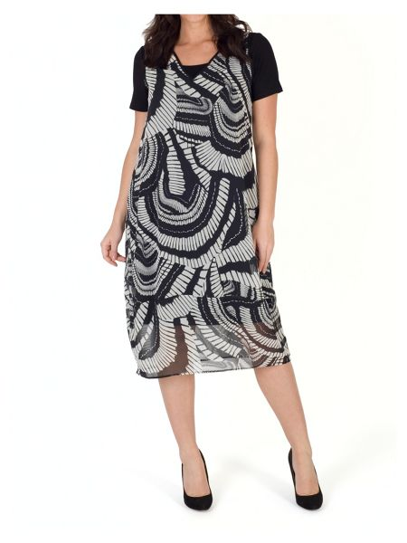 Chesca Short Sleeve Printed ChiffonDress