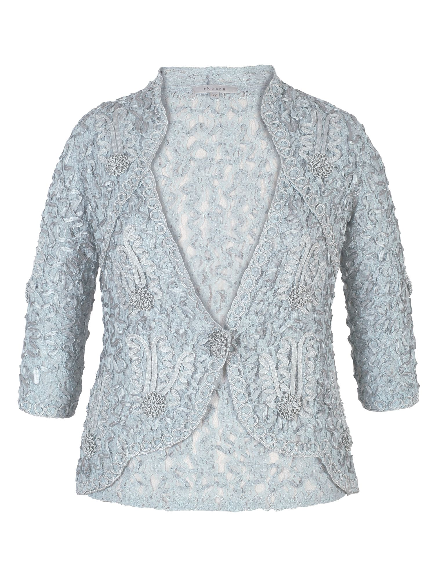 Chesca Lace Jacket with Cornelli Trim, Blue