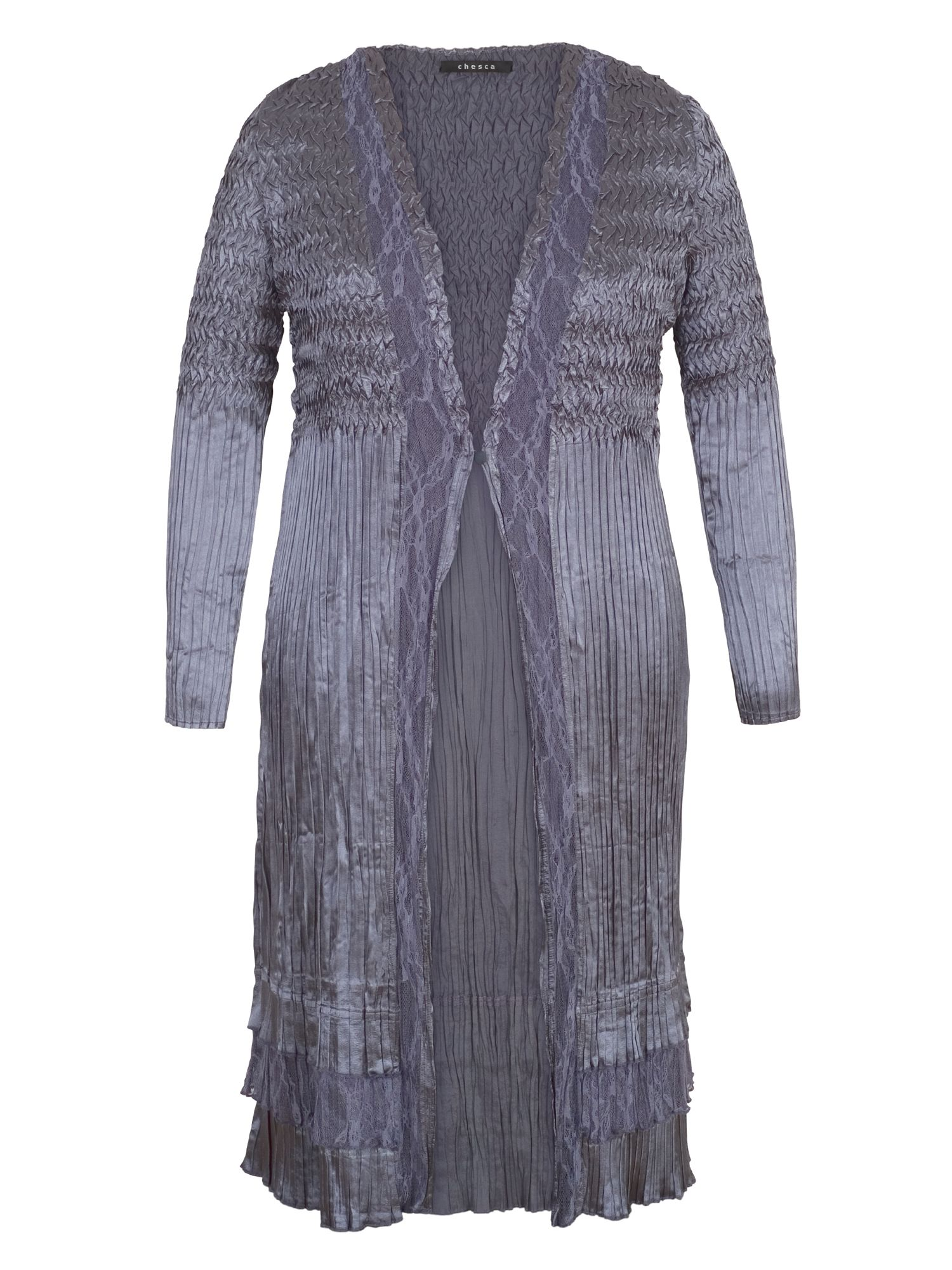 Chesca Crush Pleat Satin Coat with Lace Trim, Steel