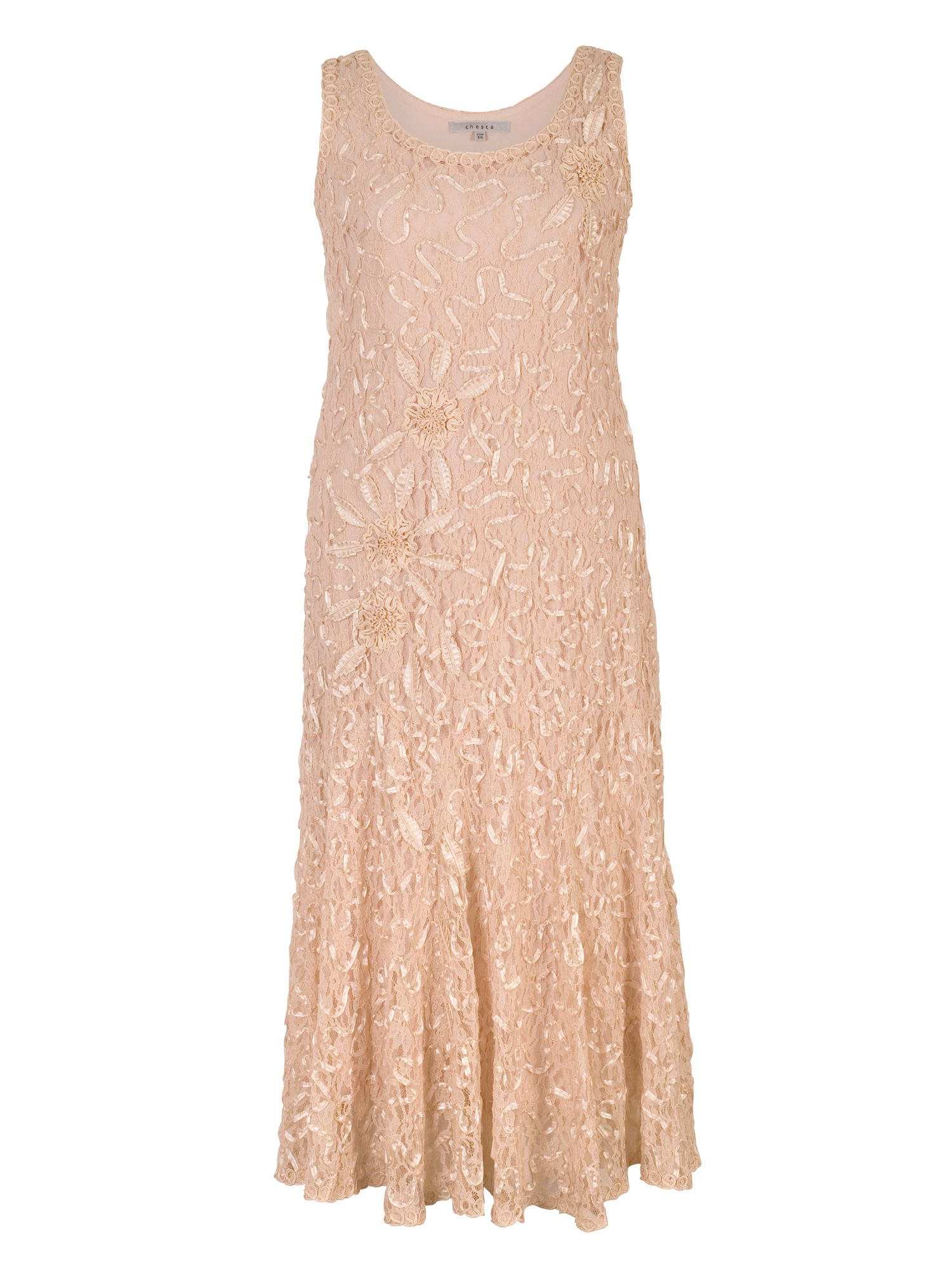 Chesca Lace Dress with Cornelli Trim, Champagne