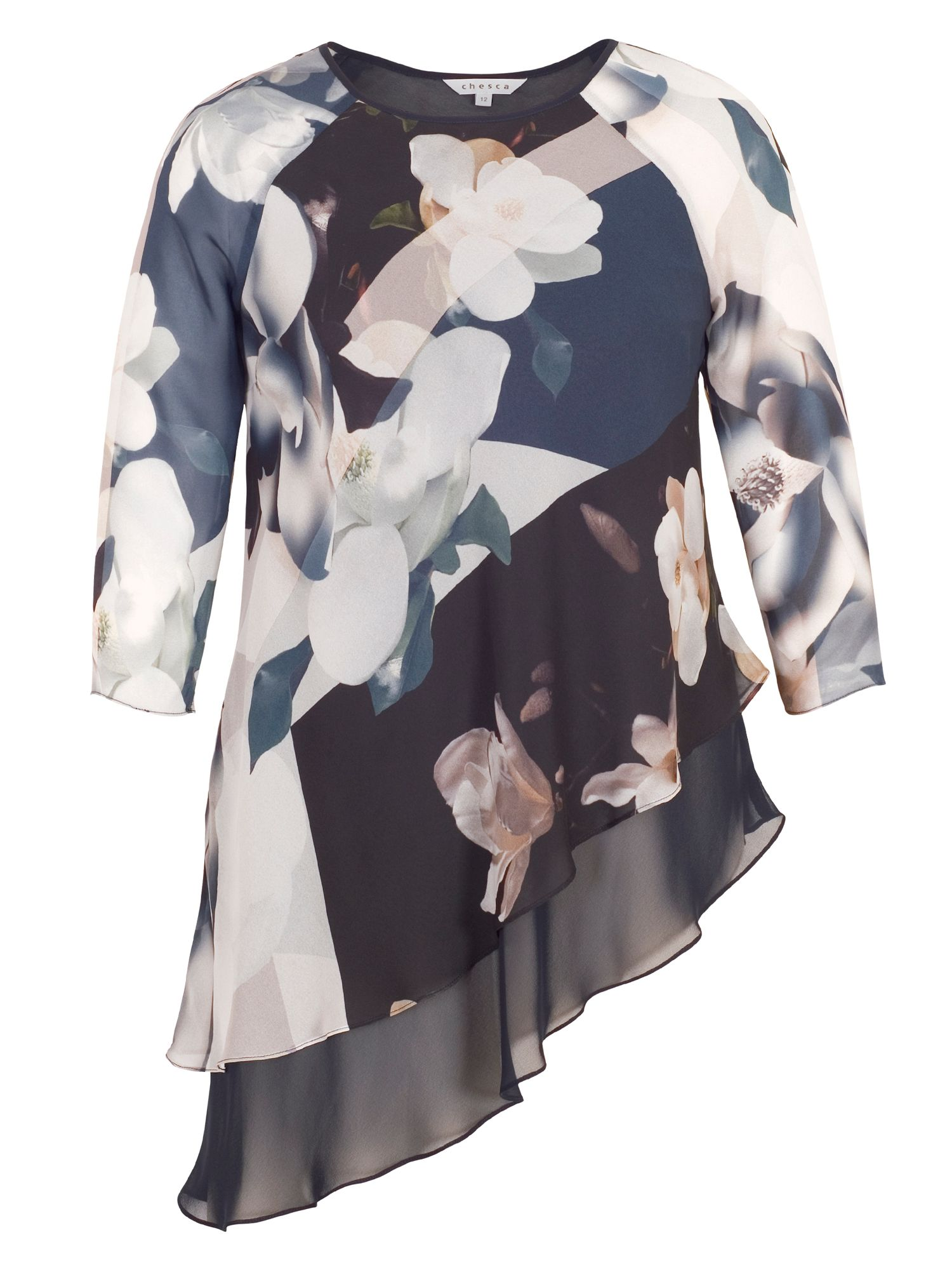 Chesca Layered Asymmetric Orchid Print Tunic, Blue