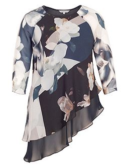 Layered Asymmetric Orchid Print Tunic