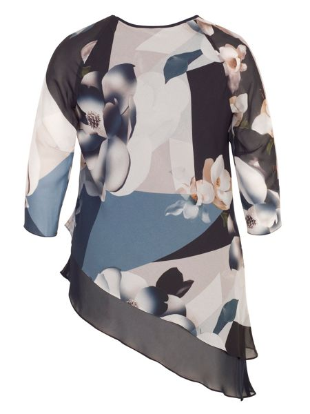 Chesca Layered Asymmetric Orchid Print Tunic