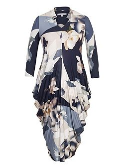 Orchid Print Jersey Drape Dress