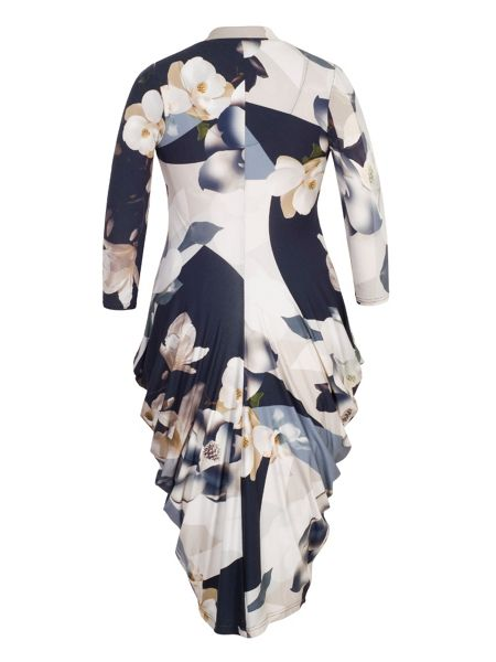 Chesca Orchid Print Jersey Drape Dress