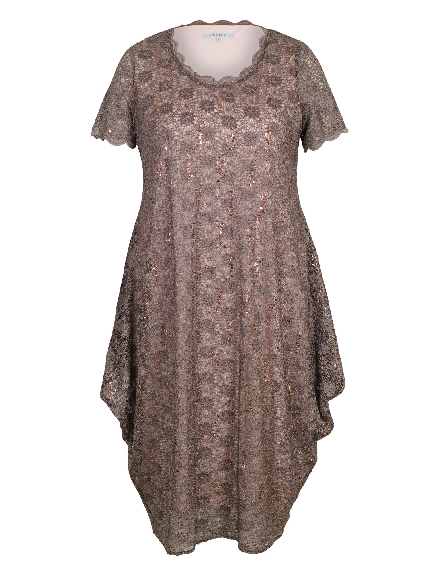 Chesca Scallop Lace & Sequin Trim Drape Dress, Brown