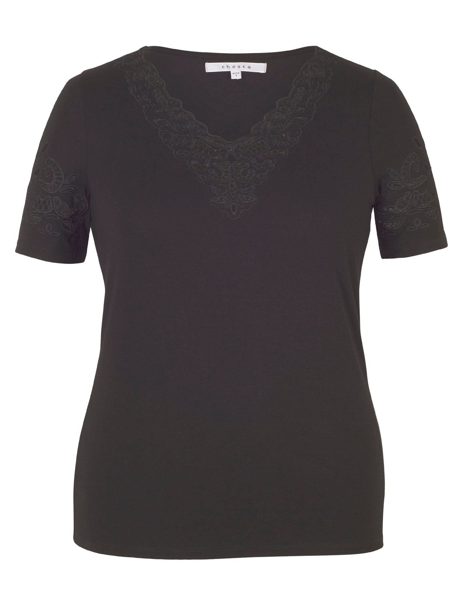 Chesca Embroidered Cutout V-Neck T-Shirt, Black