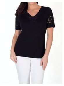 Chesca Embroidered Cutout V-Neck T-Shirt